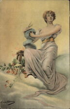 Fantasy Beautiful Woman in Clouds Holding Statue Bust - Louise Abbema PC