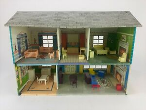 Vintage Marx Colonial Tin Litho Metal 2 Story Dollhouse Furnished