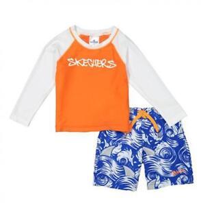 Skechers Boys L/S Orange Two-Piece Rashguard Swim Set Size 2T 3T 4T 4 5 6 7