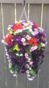 Beautiful  Purple multi Artificial  Trailing Hanging Basket Ready To Hang