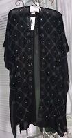 NEW Plus Size 3X 2X 1X Black Crystal Stud Open Boho Wrap Duster Kimono JM