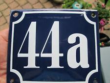 Hausnummer Emaille Nr. 44a weisse Zahl auf blauem Hintergrund 12 cm x 10 cm