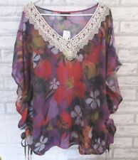 FASHION BUG Sheer Pull Over Top Size 2X NWT White Lace Trim Sheer Top