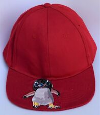 Baby Penguin Applique Baseball Cap Hat Adjustable Strapback Flat Bill Red