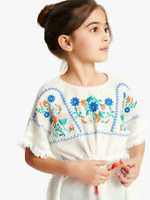 New John Lewis Girls Embroidered Summer Kaftan Top, Cream, Age 9, RRP £35