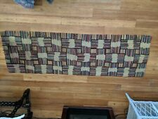 """Antique hooked rug colorful squares New England Runner 75"""" x23"""" Cutter Repurpose"""