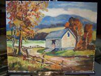 SUPERB 20TH CENTURY PASTORAL SCENE IMPRESSIONISTIC OIL ON CANVAS BOARD PAINTING