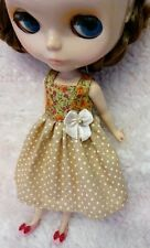 Blythe Doll Outfit Flower Print Brown Dress