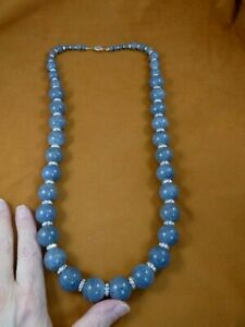 """(V-46) blue New Zealand coral + white AB Austrian crystal bead 32"""" long Necklace"""