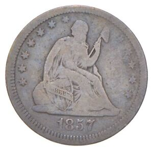 TOUGH - 1857 Seated Liberty Quarter - Early US Type Coin - Historic *725