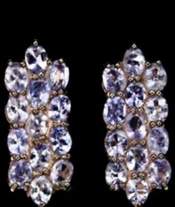 Rose Gold Vermeil Over Sterling Silver Rich Blue Violet Tanzanite Earrings