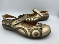 Naot Women's 37 Leather Mary Jane w/ Swirl Accent Comfort Shoes Light Gold