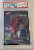 2018 Panini Father's Day Cristiano Ronaldo SP 3/5 Match Worn 3 Color Patch PSA 8