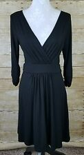 Tart Dress Small Solid Black Wrap Front Jersey 3/4 Sleeve Modal Stretch LBD