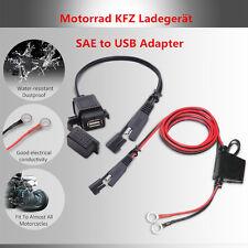 1X Motorrad KFZ Ladegerät SAE to USB Adapter Stecker Wasserdicht mit Kabelbinder