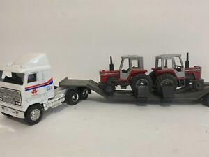 Vintage 1/64 MACK semi truck lowboy flatbed Massey Ferguson 699 tractor set 1:64