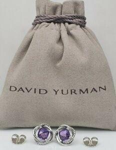 David Yurman Sterling Silver Infinity w/ Amethyst stone Cable Stud Earrings