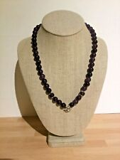 Victorian silvered and amethyst bead necklace with quality beads and silvery mot