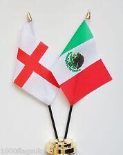 England & Mexico Double Friendship Table Flag Set