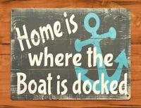 """TIN SIGN """"Home is Where the Boat is Docked"""" Beach Island Sea Decor"""