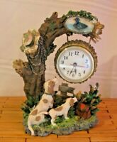 Quartz Clock Shelf Table Mantel Clock Country Scene with tree and dogs Resin