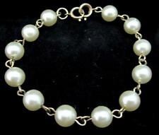 "Classic Faux Pearl Beaded Chained Linked Lovely Gold Toned Bracelet 7-1/2"" *M96"