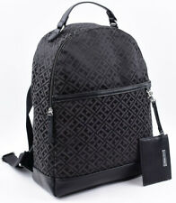 TOMMY HILFIGER Women's Monogram Fabric Backpack, with Card Holder, Black