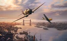 Nic Trudgian Battle of Britain Spitfire print London Pride signed by B Stapleton