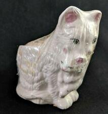 Vintage Ceramic White Cat Carrying Kitten Soap Basket Holder Nos