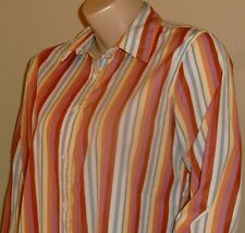 Women's Faconnable Cotton Multi-Color Striped Button Down 3/4 Sleeve Shirt L