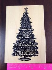 Inkadinkado Christmas Tree Cheer Holly Let it Snow Traditions Words Rubber Stamp