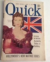 """Vintage Quick News Weekly Magazine 6"""" X 4"""" May 7, 1951 Vivien Leigh"""