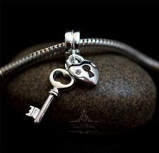 Genuine SOLID 925 Sterling Silver charm bead love lock key heart fits bracelets