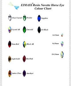 Navette Horse Eye Shape EIMASS® Sew or Glue on Resin Crystals, Flat Back Gems