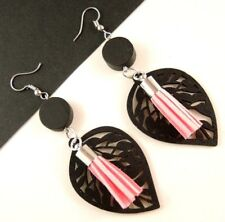 Black Lightweight Leaf Wood Dangle Earrings with Pink Faux Suede Tassels # 1619