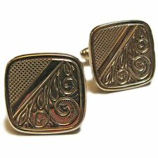 Metal Cuff Links Square Gold Tone