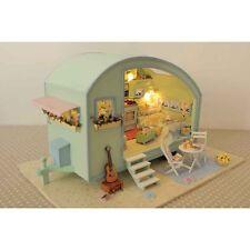 DIY Cabin Time Travel Dollhouse Caravan Doll House Miniature Furniture Kit w/LED