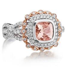 14K solid 2 tone gold cushion shape 7 mm morganite Ring,diamond  unique ring