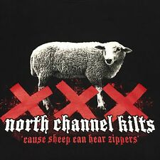 North Channel Kilts Black Large T-Shirt Irish Scottish Sheep Rock Music Band Fun