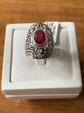 Ruby Sterling Silver Filigree Ring Size M