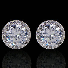 Women's 18K White Silver Plated Crystal Zircon Inlaid Ear Stud Earrings Jewelry