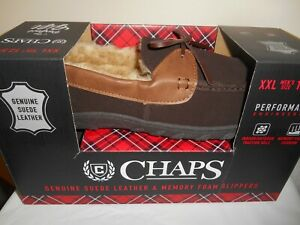 CHAPS Genuine Suede Moccasin BROWN Slippers  Men's Size XXL 12.5-13 - NEW IN BOX