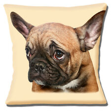 French Bulldog Cushion Cover 16x16 inch 40cm Fawn Frenchie Dog Sad Face Photo