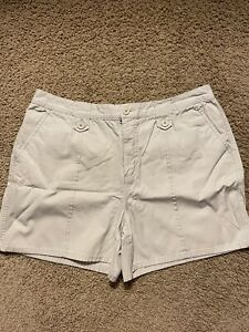 Woman's Faded Glory Authentic Brand Beige Shorts ~ Size 16 ~ 100 % Cotton