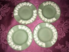 4 vtg Wedgewood sage green jasperware coasters ashtrays,floral border,Mint