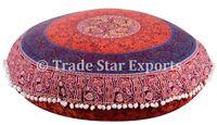 "Indian 32"" Mandala Cushion Cover Decorative Round Meditation Pillows With Insert"