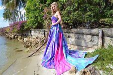 New Beach Wedding Dress M Bow Silk Taffeta Pink Blue Amparo Fuchsia 2 4 6 8