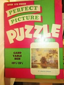 "Vintage 1950's? PERFECT PICTURE PUZZLE ""By Mead and Stream"" > 375 PCS. complete"