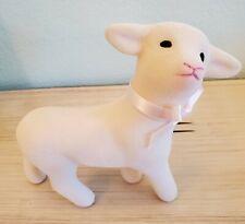 Lamb Vintage White Baby Flocked Toy Nursery Lamb Plastic EUC