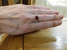 BRAND NEW 925 STAMPED SILVER RING WITH A SOLITARY RUBY LOOK STONE SIZE O + BOX